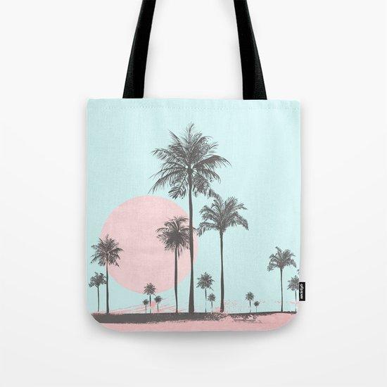 Beachfront palm tree pastel sunset graphic Tote Bag