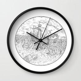 Tall Ship Turbulent Sea Serpents Black and White Drawing Wall Clock