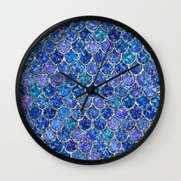 Sparkly Shades of Blue & Silver Glitter Mermaid Scales Wall Clock