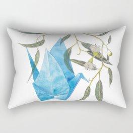 Blue origami crane and eucalyptus branches (pencil & watercolor) Rectangular Pillow
