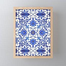 Art Nouveau Chinese Tile, Cobalt Blue & White Framed Mini Art Print