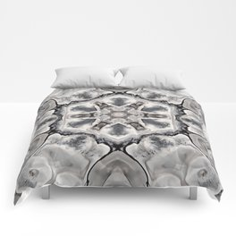 Black and White Neutral Kaleidoscope Art Print Comforters