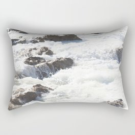 White water, dark rocks Rectangular Pillow