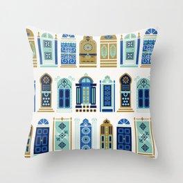 Moroccan Doors – Blue & Gold Palette Throw Pillow
