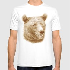 Brown bear is happy MEDIUM White Mens Fitted Tee