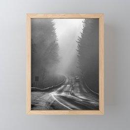 Traveling in a foggy morning in Oregon Framed Mini Art Print