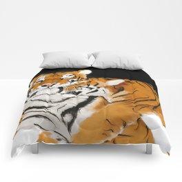 Tiger cub and mom (cheek-bump) Comforters