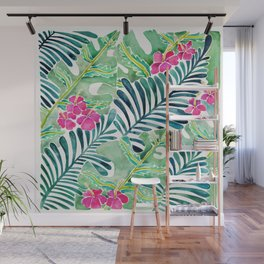 Lush Tropical Fronds & Hibiscus Wall Mural