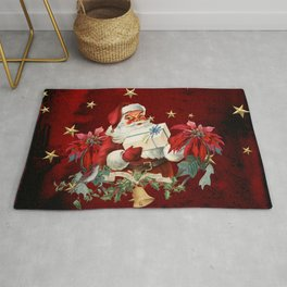Santa Claus with gifts and christmas flower Rug