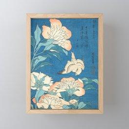 Japanese Flowers Turquoise Peach Framed Mini Art Print