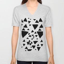 Black white hand painted geometric triangles Unisex V-Neck
