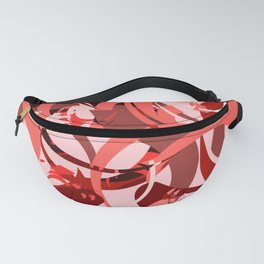 Abstract Curls - Burgundy, Coral, Pink Fanny Pack