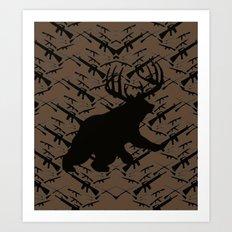 Bear with Buck Horns Art Print