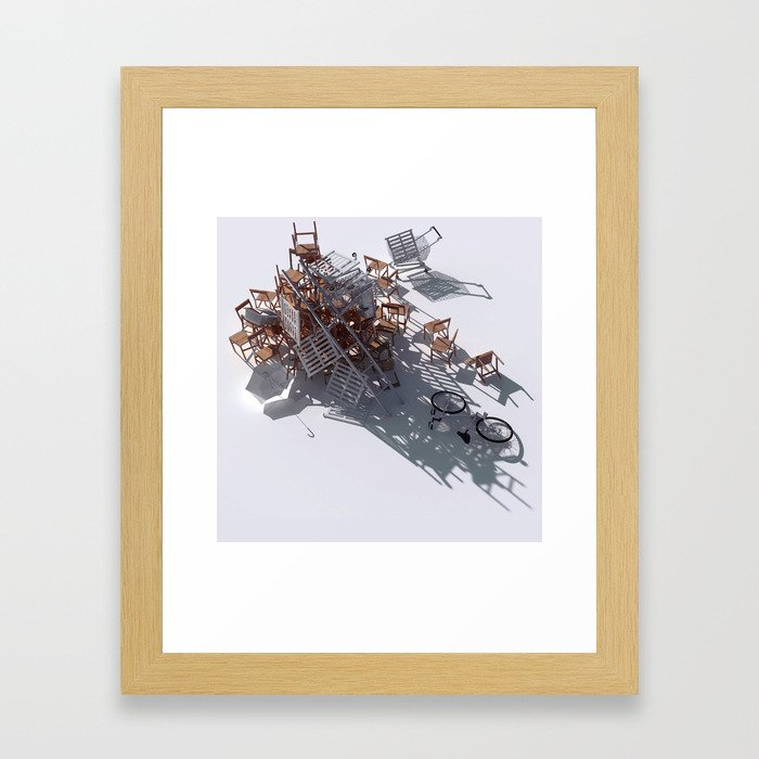 Climbing with the kitchen sink Framed Art Print