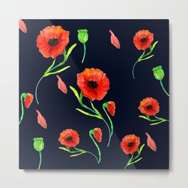 Red Poppies Field Metal Print