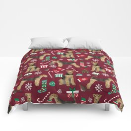 Airedale Terrier Christmas dog print dog pattern airedale pillow airedale phone case Comforters