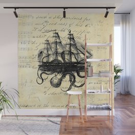 Kraken Octopus Attacking Ship Multi Collage Background Wall Mural