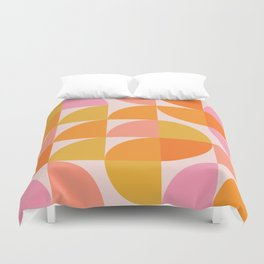 Mid Century Mod Geometry in Pink and Orange Duvet Cover