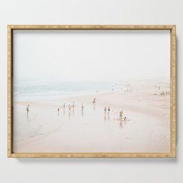 At the Beach (five) - minimal beach series by Ingrid Beddoes Serving Tray