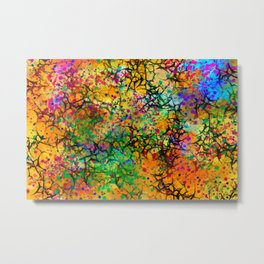 Yellow Abstract with Black Branching Metal Print