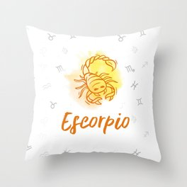 Zodiac signs collection - Scorpio/Escorpio Delvallediseno Throw Pillow
