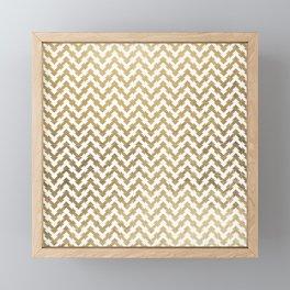Elegant modern geometrical faux gold chevron pattern Framed Mini Art Print