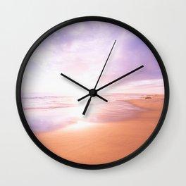Sunset Beach Scene , Summertime, Pastel Sky Wall Clock
