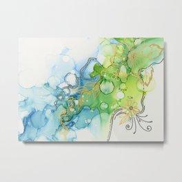 Fresh Spring Bloom Abstract Ink Painting Metal Print