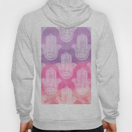 Boho white hand drawn floral lace hamsa hands of fatima purple pink watercolor ombre Hoody