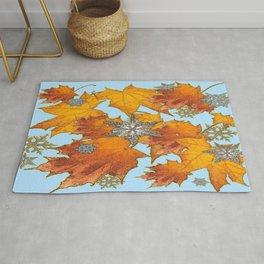 Decorative Blue Winters Snowflakes old Autumn Leaves Art Rug