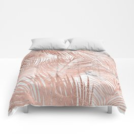 Tropical modern faux rose gold palm tree leaf white marble pattern Comforters