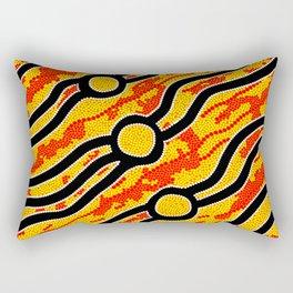 Authentic Aboriginal Art - Bush Fires Rectangular Pillow