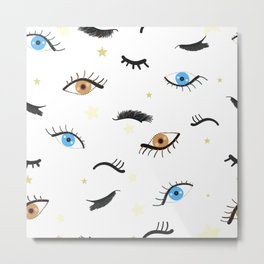 Beauty Eyes and Eye Lashes Pattern Metal Print