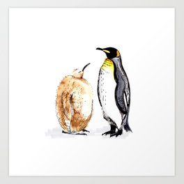King Penguin and Chick Art Print