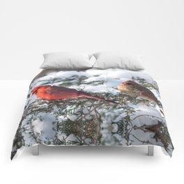 Sunny Winter Cardinals in the Adirondacks Comforters