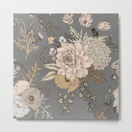 Vintage Floral Bouquet Grey Pastel Metal Print