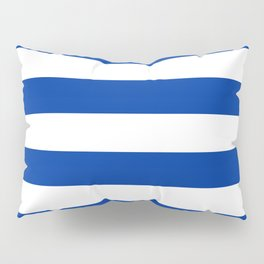 Dark Princess Blue and White Wide Horizontal Cabana Tent Stripe Pillow Sham
