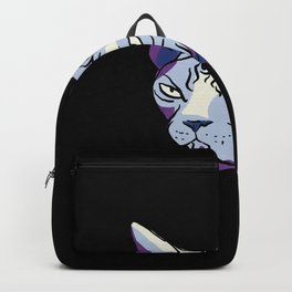 Grumpy Sphynx Cat - Funny Wrinkly Naked Kitty - Light Blue and Purple Painterly Fauvism Style - Pet Portrait - Black Background Backpack