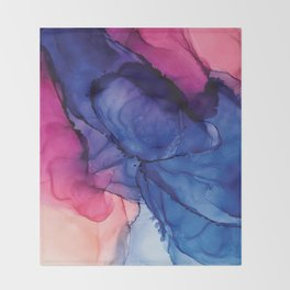 Pondering- Blue and Blush- Alcohol Ink Painting Throw Blanket