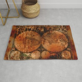 Rustic Old World Map Rug