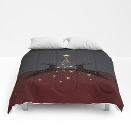 Champagne Gold Star Christmas Tree with Magical Reindeers - Shiny Red Comforters