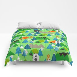 Forest with cute little bunnies and bears Comforters