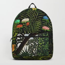 Jungle with Tiger and Hunters by Henri Rousseau Backpack