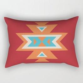 Navajo Aztec Pattern Orange Turquoise on Red Rectangular Pillow