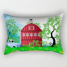 Red Barn with Old Truck Rectangular Pillow