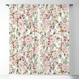 Loose Peonies & Poppies Floral Bouquet Blackout Curtain