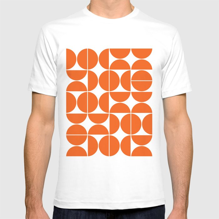 Mid Century Modern Geometric 04 Orange T-shirt