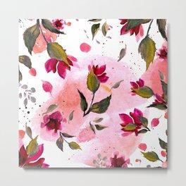 Autumn magenta pink coral green watercolor floral splatters Metal Print
