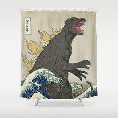 The Great Godzilla off Kanagawa Shower Curtain