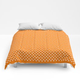Tiny Paw Prints Pattern - Bright Orange & White Comforters